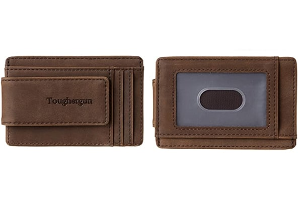 best tactical wallet Toughergun Genuine Leather Magnetic Front Pocket Money Clip Wallet RFID Blocking
