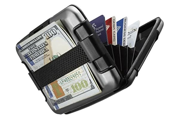best tactical wallet Aluminum Metal Wallet, RFID Protected w/Cash Band Rugged Card Case